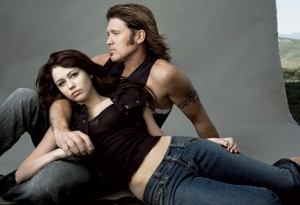 Miley Cyrus age 15 and dad Billy Ray posing for Vanity Fair - Photographer Annie Liebovitz when dad corrupt their children